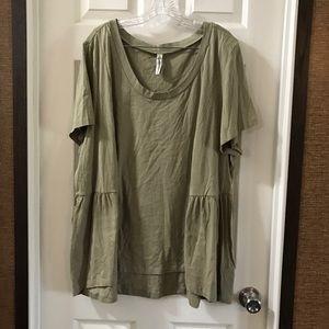 American Rag Cie Green/tan Short Sleeve Top 3X